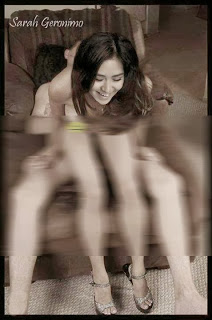 Sarah Geronimo hit by photo scandal which goes viral and popular online. The photo shows Sarah Geronimo sitting above the boy wearing nothing (Naked). The scandalous photo became a buzz after it was shared in social networking websites. But then again, it's obvious it's edited, and a bad photoshop that is.