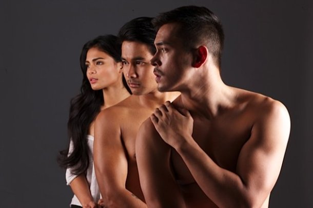 Threesome: Sexy Lovi Poe and shirtless  Joem Bascon and Jake Cuenca