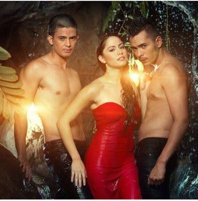 Wet Jessy Mendiola, shirtless Jake Cuenca and shirtless Jason Abalos