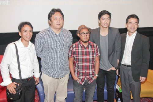 from right: Japan Foundation Dir. Shuji Takatori, Robby Mananquil (PULSO-guitarist), Franco Malaya (PULSO-Drummer), TERNO Recordings founder Toti Dalmacion and Japan Foundation Proj. Coordinator Rolando Samson. Catch free screenings on the 7th Intl Silent Film Fest at Shang Cineplex, Shangri-la Plaza from August 23-25, 2013. Log on to https://www.facebook.com/InternationalSilentFilmFestivalManila on how to get your free tickets.  Photo by Jude Bautista