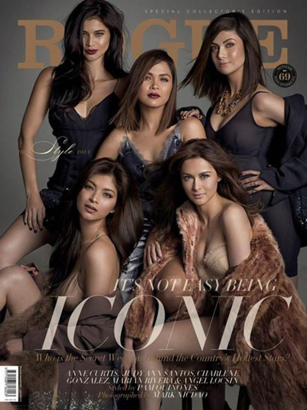 Anne Curtis Charlene Gonzales Judy Ann Santos Angel Locsin and Marian Rivera on the cover  of Rogue September issue