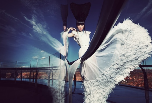 Jessica Minh Anh on the Grand Canyon Skywalk - J Autumn Fashion Show 2013