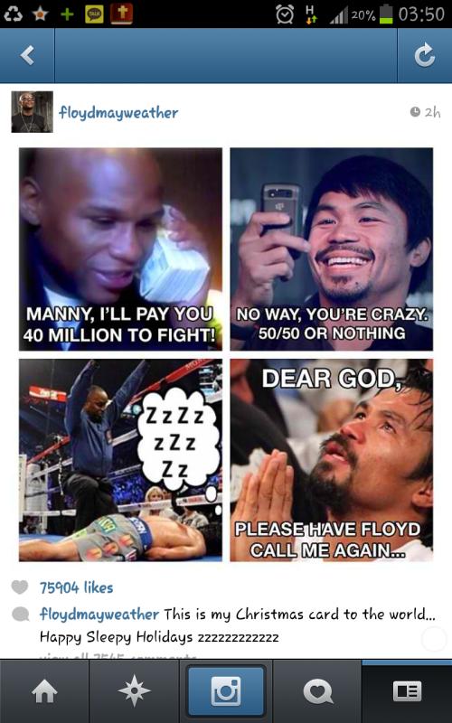 Floyd Mayweather Jr mocks Manny Pacquiao on Instagram