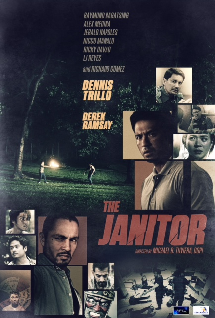"""THE JANITOR DIRECTED BY MICHAEL """"MIKE"""" TUVIERA WRITTEN BY ALOY ADLAWAN GENRE:  Action-Drama SYNOPSIS:  Crisanto Espina, a cop on suspension and under investigation, is tasked to eliminate the suspects involved in a bank robbery/massacre that shocked the whole nation.     MAJOR CREDITS:  CAST: Dennis Trillo, Richard Gomez, Ricky Davao, Dante Rivero, Irma Adlawan, LJ Reyes, Derek Ramsay, Raymond Bagatsing, Alex Medina, Jerald Napoles, Nico Manalo"""