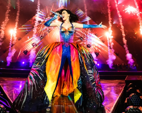 Katy Perry performs on stage on the opening night of her Prismatic World Tour at the Philippine Arena on May 7, 2015 in Manila.